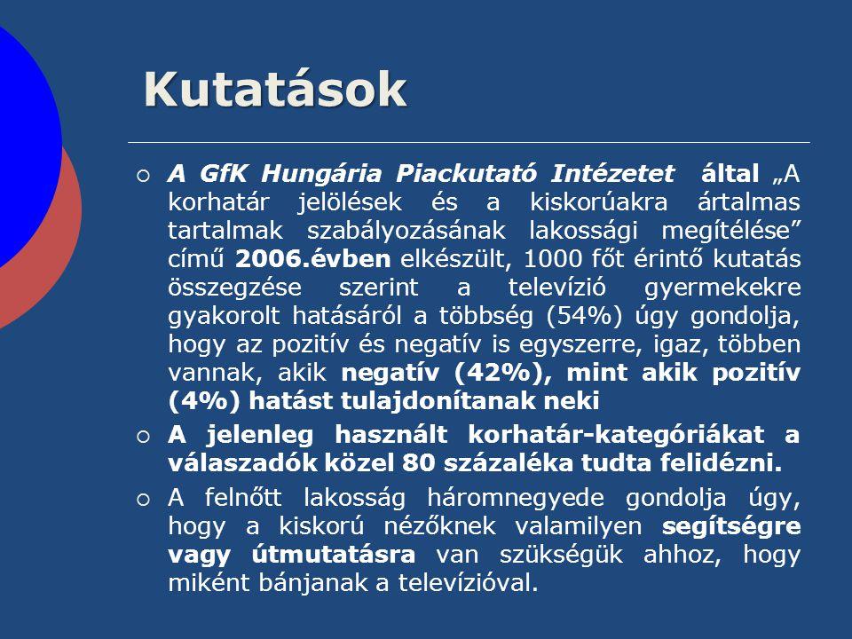 """Kutatások  A GfK Hungária Piackutató Intézetet által """"A korhatár jelölések és a kiskorúakra ártalmas tartalmak szabályozásának lakossági megítélése"""""""