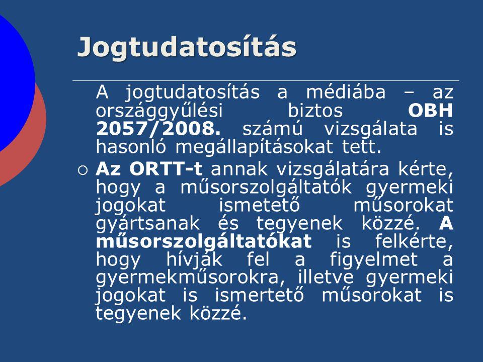 Jogtudatosítás A jogtudatosítás a médiába – az országgyűlési biztos OBH 2057/2008. számú vizsgálata is hasonló megállapításokat tett.  Az ORTT-t anna