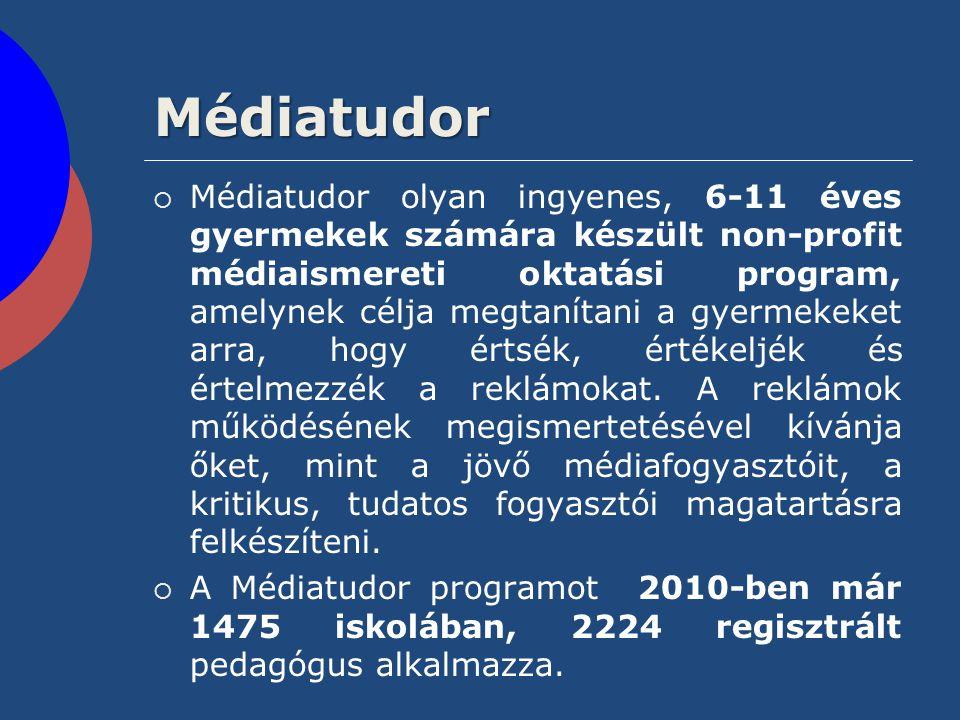 Médiatudor  Médiatudor olyan ingyenes, 6-11 éves gyermekek számára készült non-profit médiaismereti oktatási program, amelynek célja megtanítani a gy