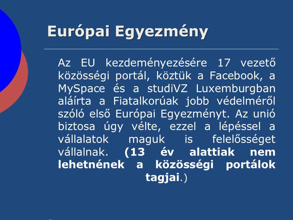 Európai Egyezmény Az EU kezdeményezésére 17 vezető közösségi portál, köztük a Facebook, a MySpace és a studiVZ Luxemburgban aláírta a Fiatalkorúak job