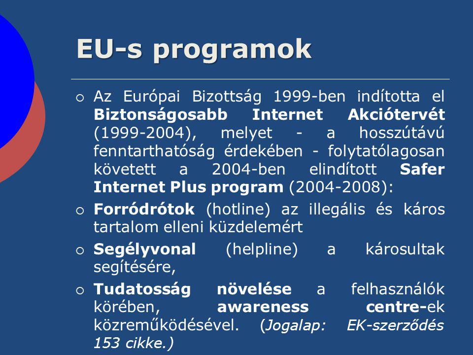 EU-s programok  Az Európai Bizottság 1999-ben indította el Biztonságosabb Internet Akciótervét (1999-2004), melyet - a hosszútávú fenntarthatóság érd