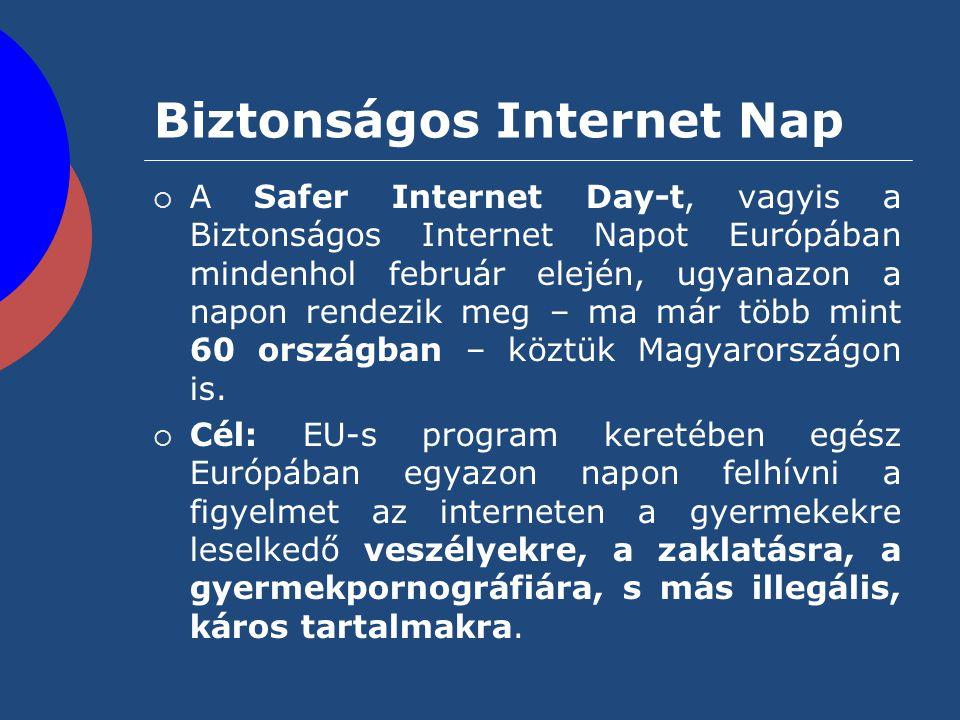 Biztonságos Internet Nap  A Safer Internet Day-t, vagyis a Biztonságos Internet Napot Európában mindenhol február elején, ugyanazon a napon rendezik
