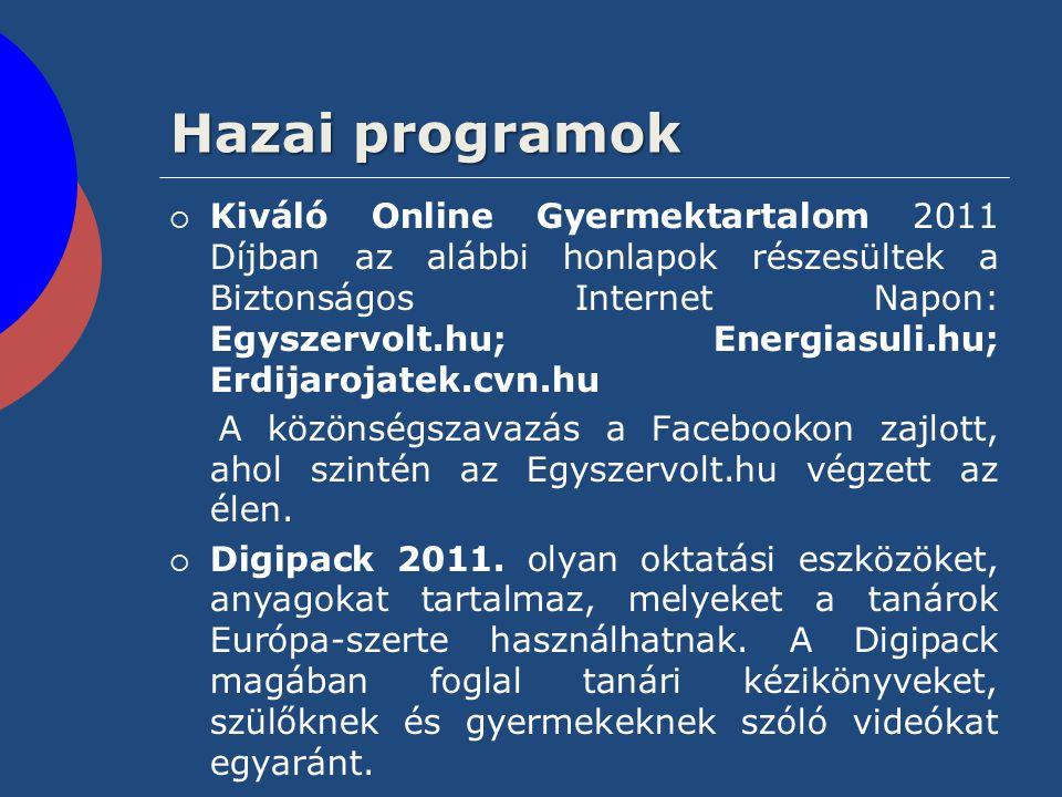Hazai programok  Kiváló Online Gyermektartalom 2011 Díjban az alábbi honlapok részesültek a Biztonságos Internet Napon: Egyszervolt.hu; Energiasuli.h