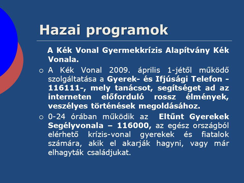 Hazai programok A Kék Vonal Gyermekkrízis Alapítvány Kék Vonala.  A Kék Vonal 2009. április 1-jétől működő szolgáltatása a Gyerek- és Ifjúsági Telefo