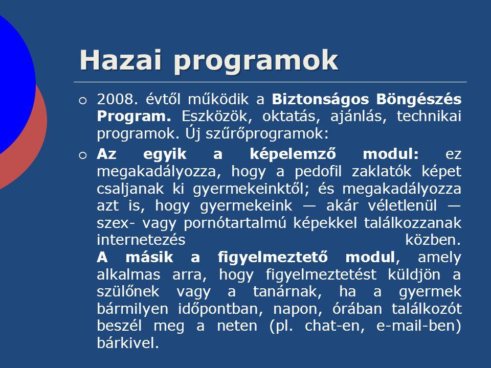 Hazai programok  2008. évtől működik a Biztonságos Böngészés Program. Eszközök, oktatás, ajánlás, technikai programok. Új szűrőprogramok:  Az egyik