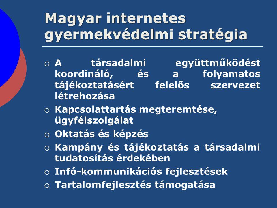 Magyar internetes gyermekvédelmi stratégia  A társadalmi együttműködést koordináló, és a folyamatos tájékoztatásért felelős szervezet létrehozása  K