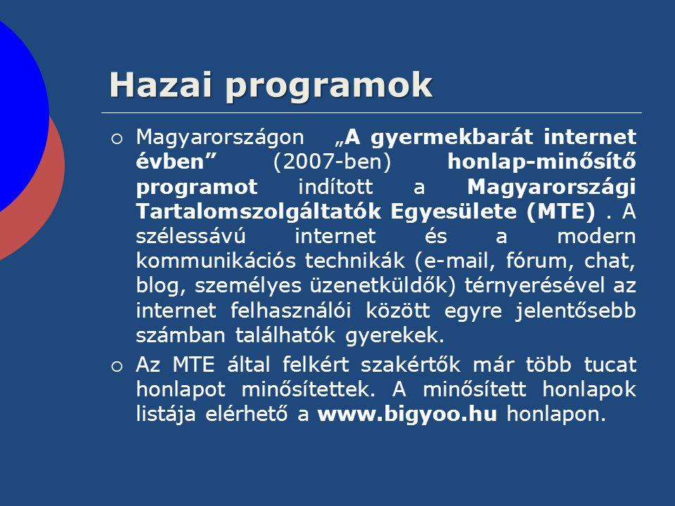 """Hazai programok  Magyarországon """"A gyermekbarát internet évben"""" (2007-ben) honlap-minősítő programot indított a Magyarországi Tartalomszolgáltatók Eg"""