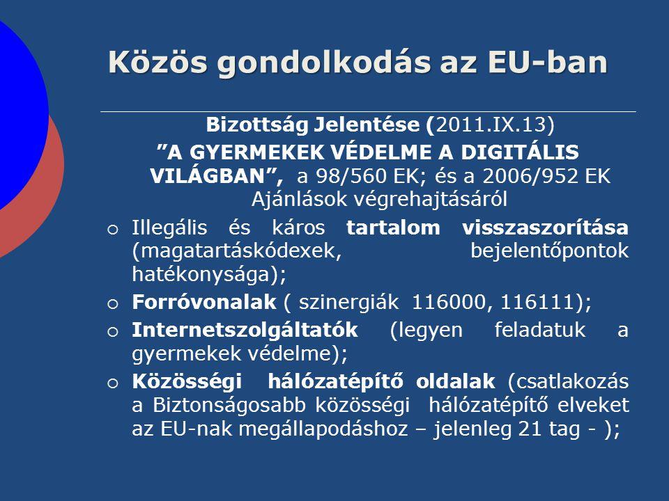 """Közös gondolkodás az EU-ban Bizottság Jelentése (2011.IX.13) """"A GYERMEKEK VÉDELME A DIGITÁLIS VILÁGBAN"""", a 98/560 EK; és a 2006/952 EK Ajánlások végre"""