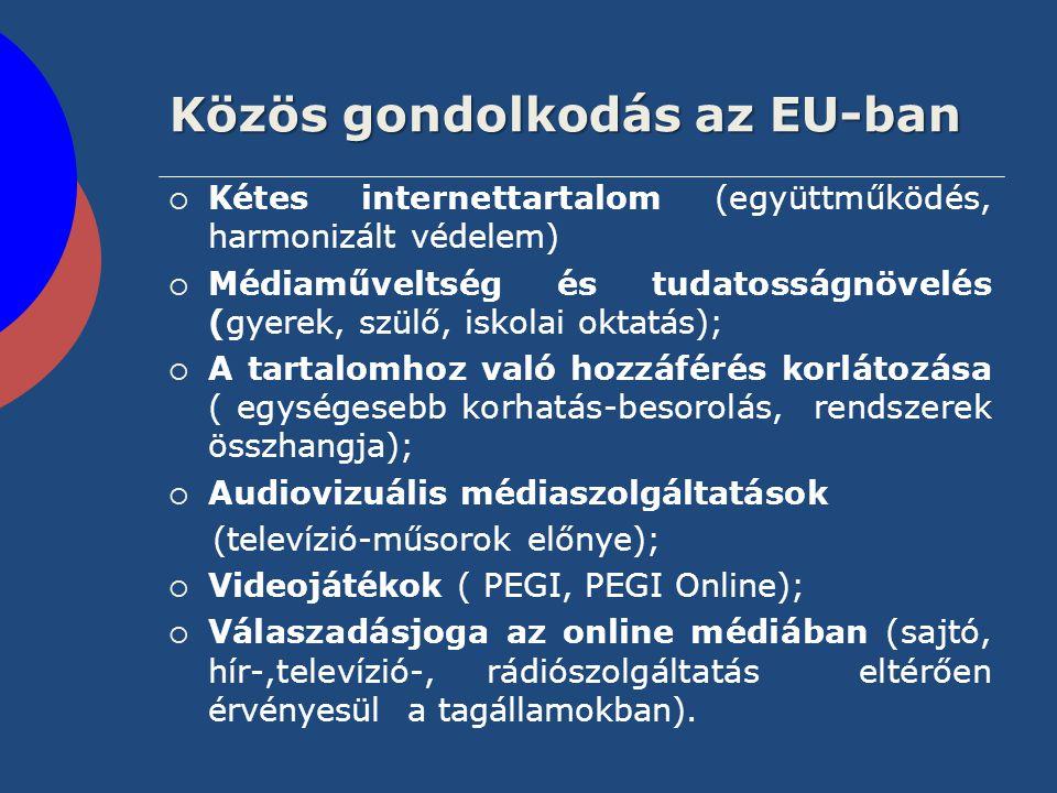 Közös gondolkodás az EU-ban  Kétes internettartalom (együttműködés, harmonizált védelem)  Médiaműveltség és tudatosságnövelés (gyerek, szülő, iskola