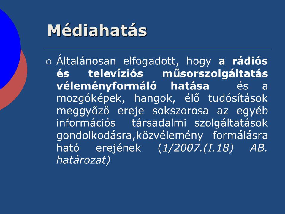 Médiahatás  Általánosan elfogadott, hogy a rádiós és televíziós műsorszolgáltatás véleményformáló hatása és a mozgóképek, hangok, élő tudósítások meg