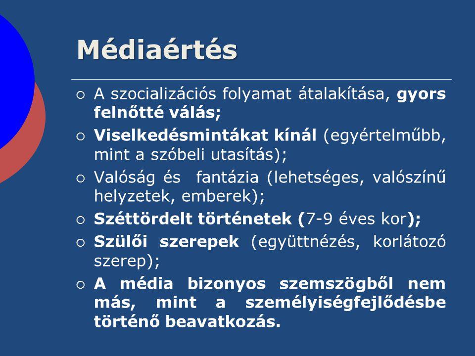 Médiaértés  A szocializációs folyamat átalakítása, gyors felnőtté válás;  Viselkedésmintákat kínál (egyértelműbb, mint a szóbeli utasítás);  Valósá