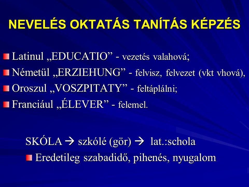 """NEVELÉS OKTATÁS TANÍTÁS KÉPZÉS Latinul """"EDUCATIO"""" - vezetés valahová ; Németül """"ERZIEHUNG"""" - felvisz, felvezet (vkt vhová), Oroszul """"VOSZPITATY"""" - fel"""