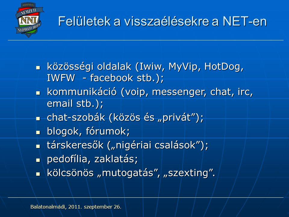 """Felületek a visszaélésekre a NET-en közösségi oldalak (Iwiw, MyVip, HotDog, IWFW - facebook stb.); közösségi oldalak (Iwiw, MyVip, HotDog, IWFW - facebook stb.); kommunikáció (voip, messenger, chat, irc, email stb.); kommunikáció (voip, messenger, chat, irc, email stb.); chat-szobák (közös és """"privát ); chat-szobák (közös és """"privát ); blogok, fórumok; blogok, fórumok; társkeresők (""""nigériai csalások ); társkeresők (""""nigériai csalások ); pedofília, zaklatás; pedofília, zaklatás; kölcsönös """"mutogatás , """"szexting ."""