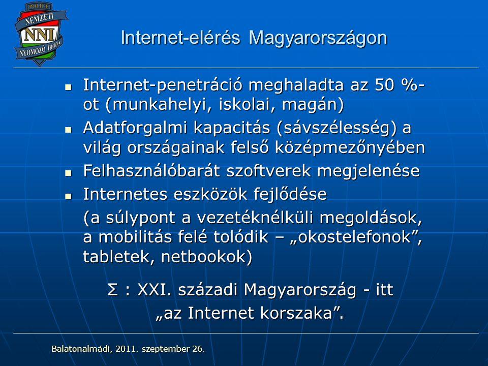 """Internet-elérés Magyarországon Internet-penetráció meghaladta az 50 %- ot (munkahelyi, iskolai, magán) Internet-penetráció meghaladta az 50 %- ot (munkahelyi, iskolai, magán) Adatforgalmi kapacitás (sávszélesség) a világ országainak felső középmezőnyében Adatforgalmi kapacitás (sávszélesség) a világ országainak felső középmezőnyében Felhasználóbarát szoftverek megjelenése Felhasználóbarát szoftverek megjelenése Internetes eszközök fejlődése Internetes eszközök fejlődése (a súlypont a vezetéknélküli megoldások, a mobilitás felé tolódik – """"okostelefonok , tabletek, netbookok) Σ : XXI."""