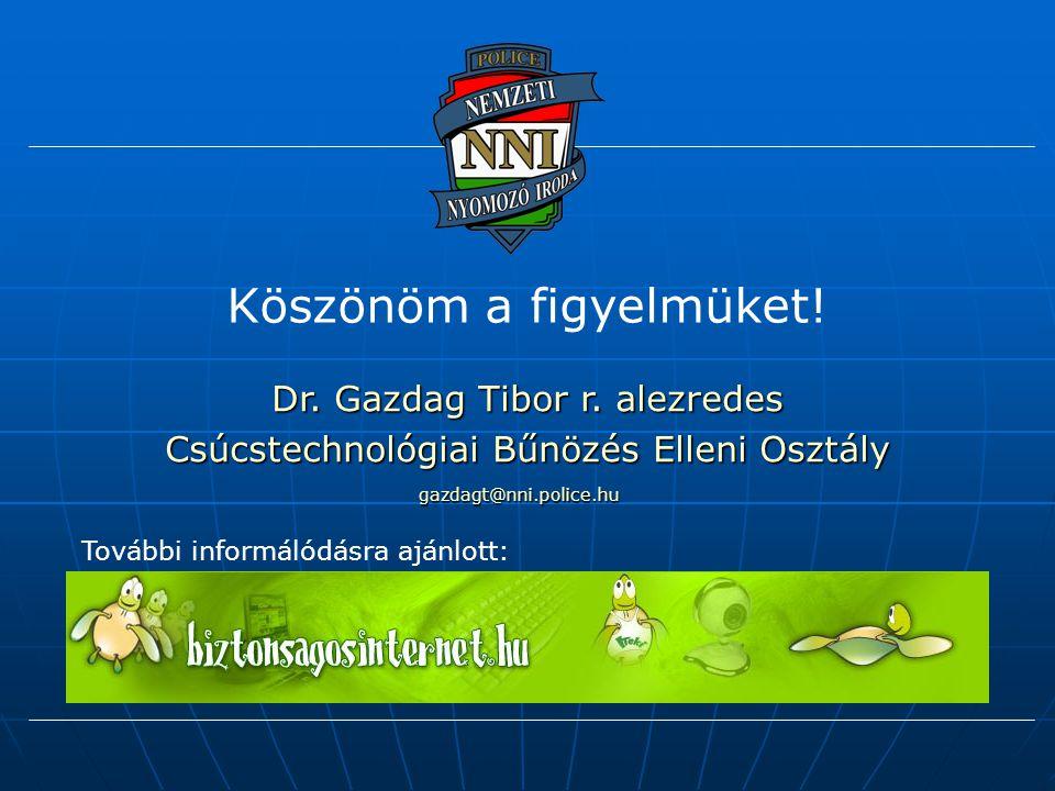 Köszönöm a figyelmüket! Dr. Gazdag Tibor r. alezredes Csúcstechnológiai Bűnözés Elleni Osztály További informálódásra ajánlott: gazdagt@nni.police.hu