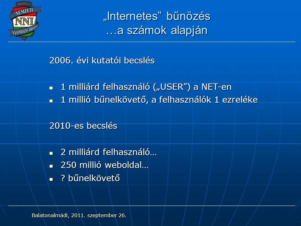 """""""Internetes"""" bűnözés …a számok alapján 2006. évi kutatói becslés 1 milliárd felhasználó (""""USER"""") a NET-en 1 milliárd felhasználó (""""USER"""") a NET-en 1 m"""