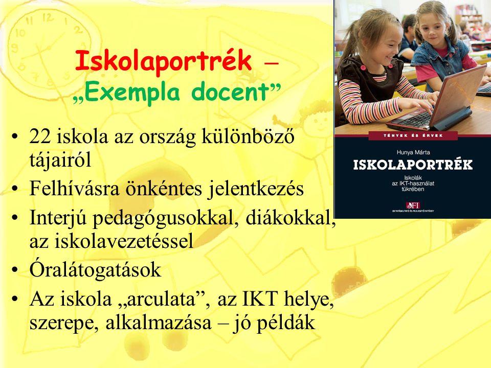 """Iskolaportrék – """" Exempla docent """" 22 iskola az ország különböző tájairól Felhívásra önkéntes jelentkezés Interjú pedagógusokkal, diákokkal, az iskola"""