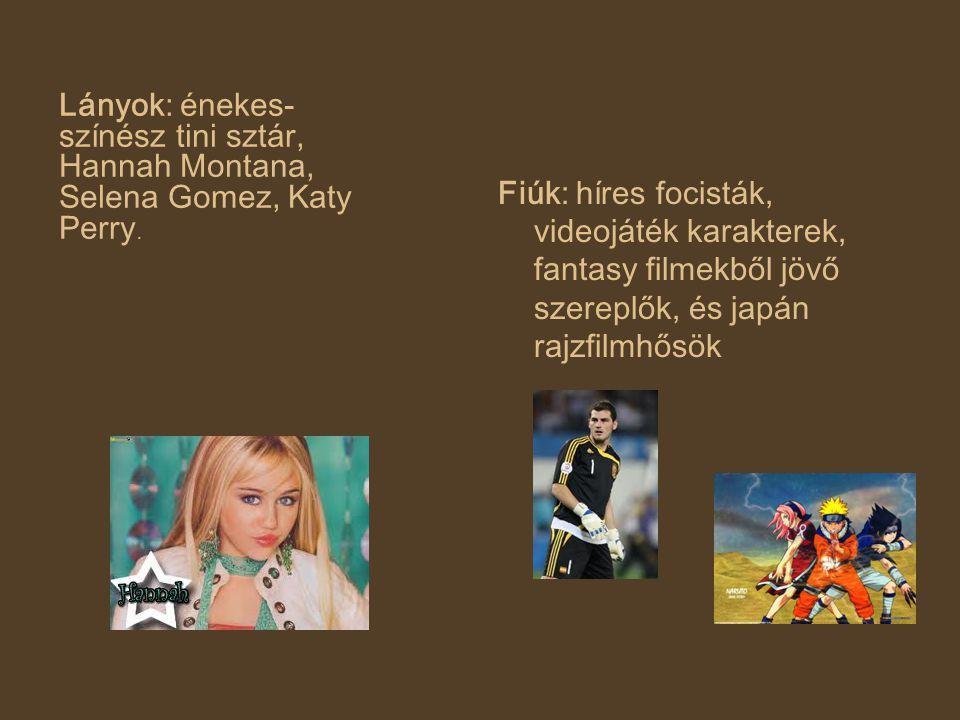 Fiúk: híres focisták, videojáték karakterek, fantasy filmekből jövő szereplők, és japán rajzfilmhősök Lányok: énekes- színész tini sztár, Hannah Monta