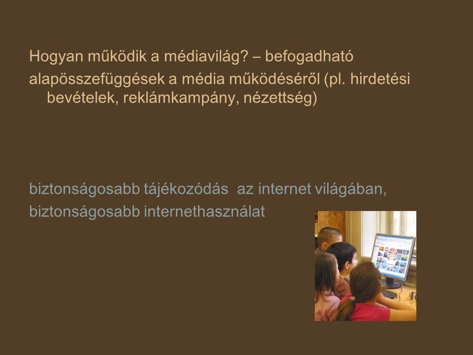Hogyan működik a médiavilág? – befogadható alapösszefüggések a média működéséről (pl. hirdetési bevételek, reklámkampány, nézettség) biztonságosabb tá