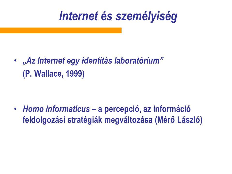 Az internethasználat pozitívumai és veszélyei A kibertér pozitív hatásai: –rugalmasabb gondolkodás –nyitottabb személyiség – előítéletek lebontása –különböző szerepek kipróbálása –a személyiség rejtett oldalainak megismerése A kibertér negatív hatásai: – regresszió –álarcok –a lehetséges és a valóságos viszonyának relativizálódása –Sybermobbing v.
