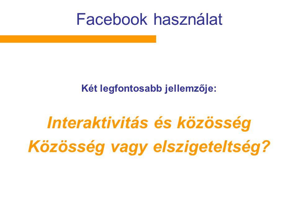 Facebook használat Két legfontosabb jellemzője: Interaktivitás és közösség Közösség vagy elszigeteltség?