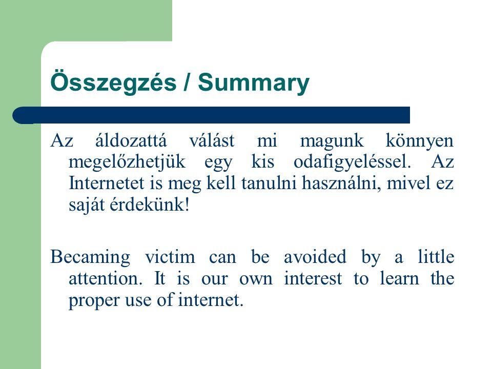Összegzés / Summary Az áldozattá válást mi magunk könnyen megelőzhetjük egy kis odafigyeléssel.