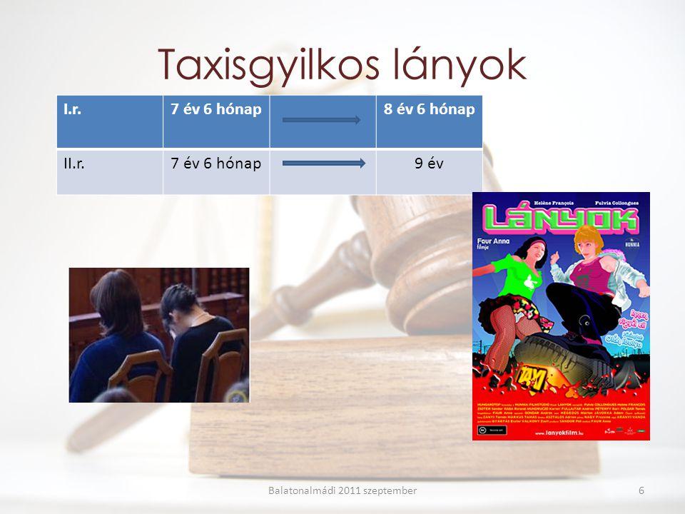 Taxisgyilkos lányok I.r.7 év 6 hónap8 év 6 hónap II.r.7 év 6 hónap9 év Balatonalmádi 2011 szeptember6