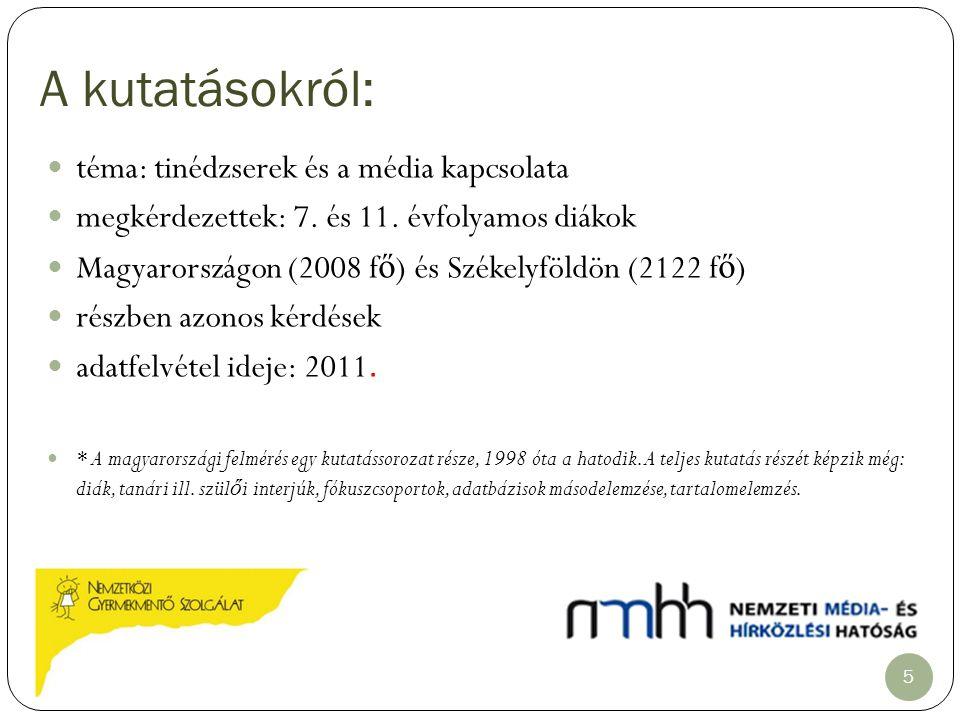 A kutatásokról: téma: tinédzserek és a média kapcsolata megkérdezettek: 7. és 11. évfolyamos diákok Magyarországon (2008 f ő ) és Székelyföldön (2122