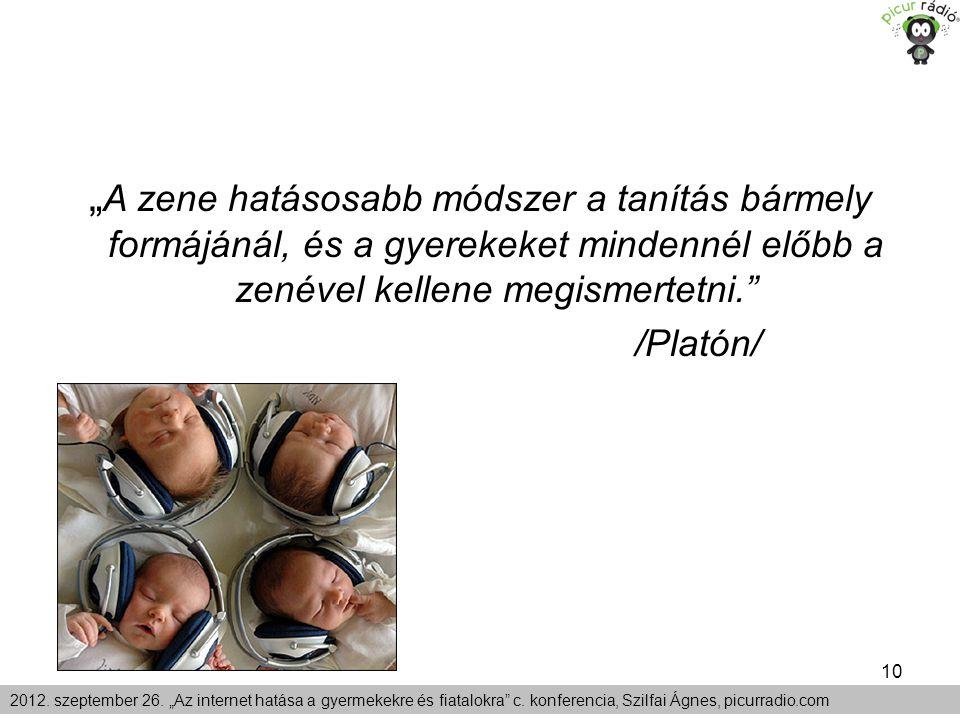 """10 2012. szeptember 26. """"Az internet hatása a gyermekekre és fiatalokra"""" c. konferencia, Szilfai Ágnes, picurradio.com """" A zene hatásosabb módszer a t"""