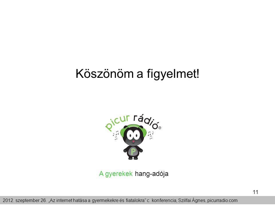 """11 2012. szeptember 26. """"Az internet hatása a gyermekekre és fiatalokra"""" c. konferencia, Szilfai Ágnes, picurradio.com Köszönöm a figyelmet! A gyereke"""