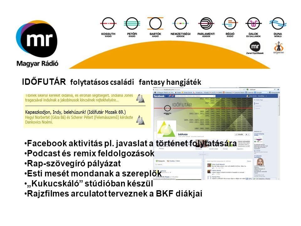 IDŐFUTÁR folytatásos családi fantasy hangjáték Facebook aktivitás pl. javaslat a történet folytatására Podcast és remix feldolgozások Rap-szövegíró pá