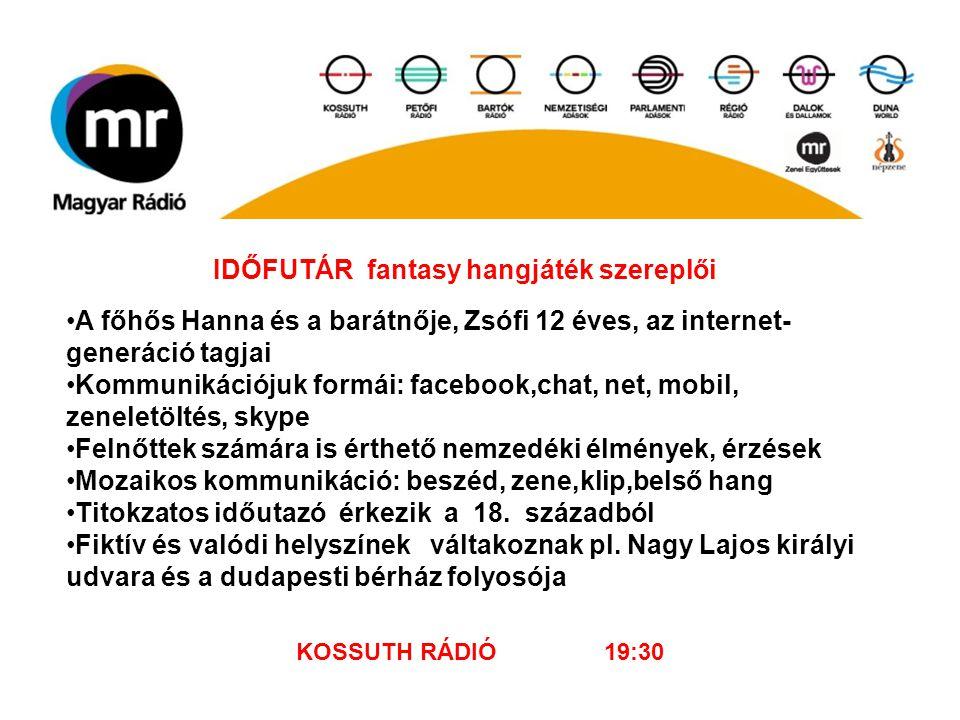 IDŐFUTÁR fantasy hangjáték szereplői A főhős Hanna és a barátnője, Zsófi 12 éves, az internet- generáció tagjai Kommunikációjuk formái: facebook,chat,