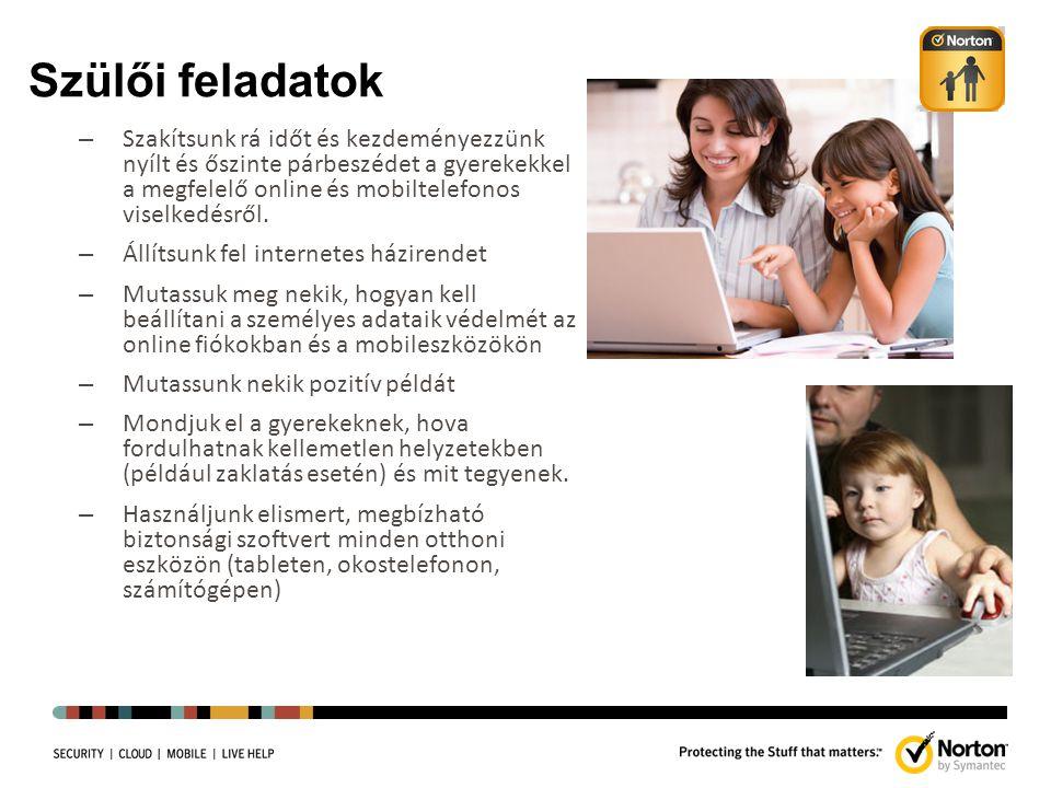 Szülői feladatok – Szakítsunk rá időt és kezdeményezzünk nyílt és őszinte párbeszédet a gyerekekkel a megfelelő online és mobiltelefonos viselkedésről.