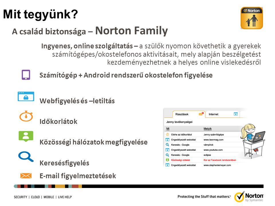 Mit tegyünk? A család biztonsága – Norton Family Ingyenes, online szolgáltatás – a szülők nyomon követhetik a gyerekek számítógépes/okostelefonos akti