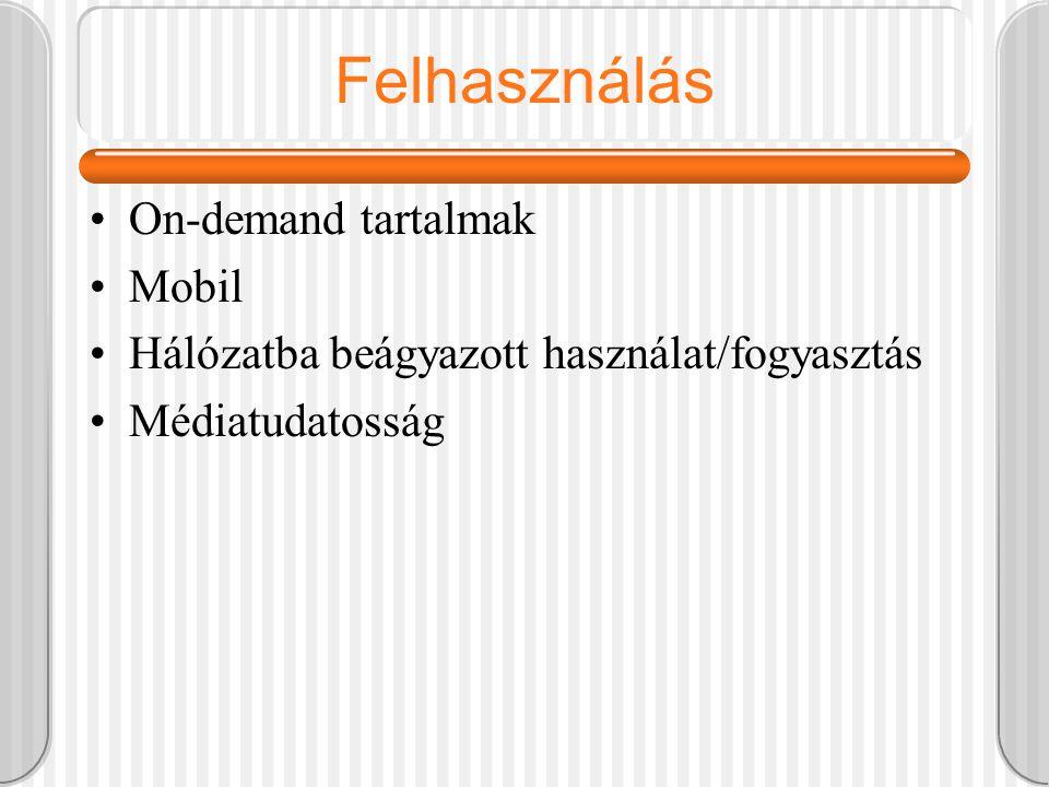 Felhasználás On-demand tartalmak Mobil Hálózatba beágyazott használat/fogyasztás Médiatudatosság
