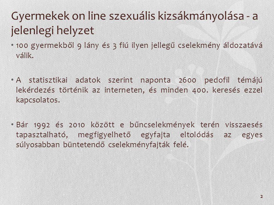Gyermekek on line szexuális kizsákmányolása - a jelenlegi helyzet 100 gyermekből 9 lány és 3 fiú ilyen jellegű cselekmény áldozatává válik.
