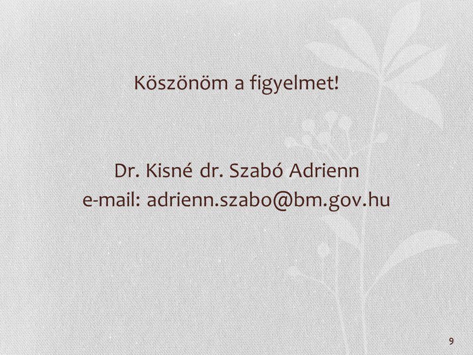 Köszönöm a figyelmet! Dr. Kisné dr. Szabó Adrienn e-mail: adrienn.szabo@bm.gov.hu 9