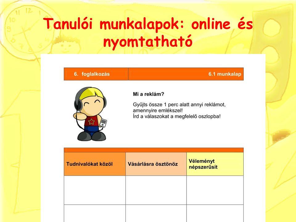 Tanulói munkalapok: online és nyomtatható