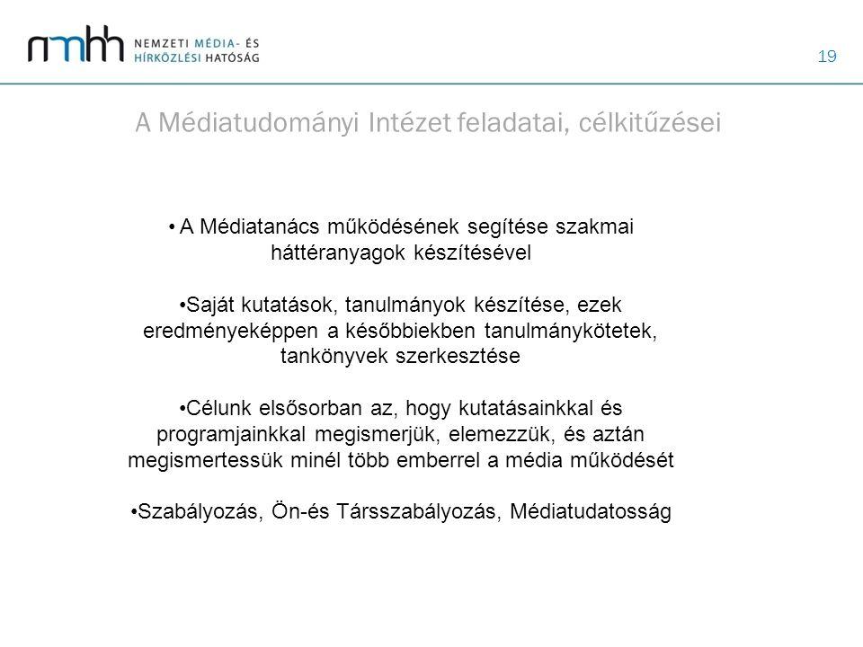 19 A Médiatudományi Intézet feladatai, célkitűzései A Médiatanács működésének segítése szakmai háttéranyagok készítésével Saját kutatások, tanulmányok
