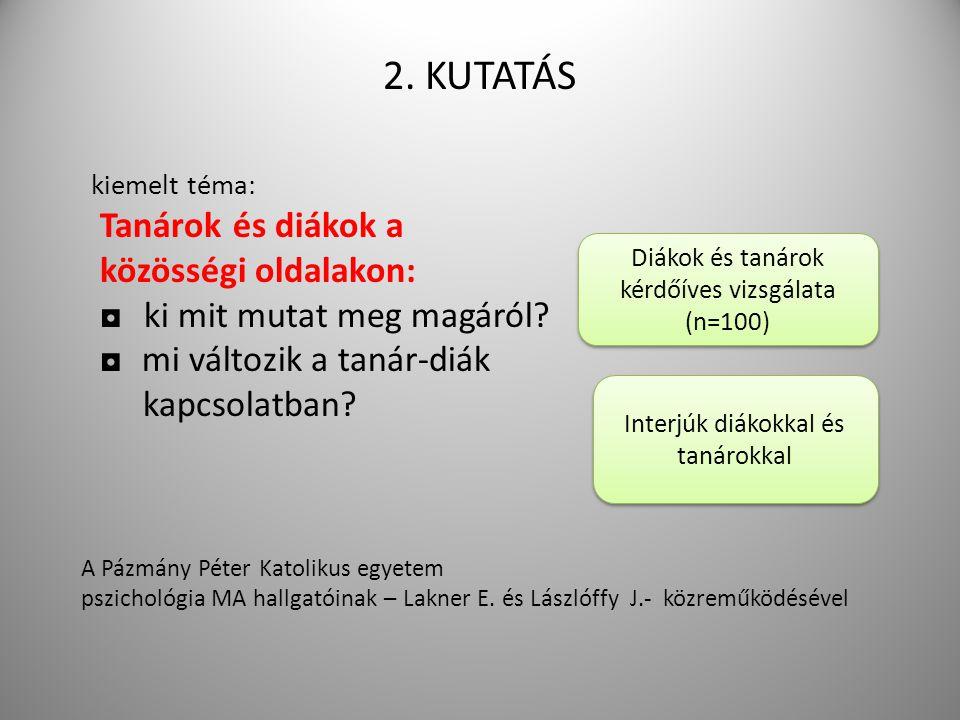 2. KUTATÁS kiemelt téma: Tanárok és diákok a közösségi oldalakon: ◘ ki mit mutat meg magáról.