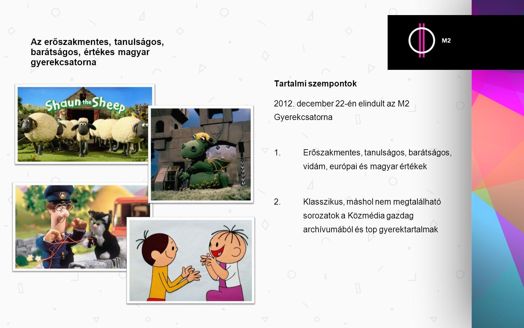 Tartalmi szempontok 2012. december 22-én elindult az M2 Gyerekcsatorna 1. Erőszakmentes, tanulságos, barátságos, vidám, európai és magyar értékek 2. K