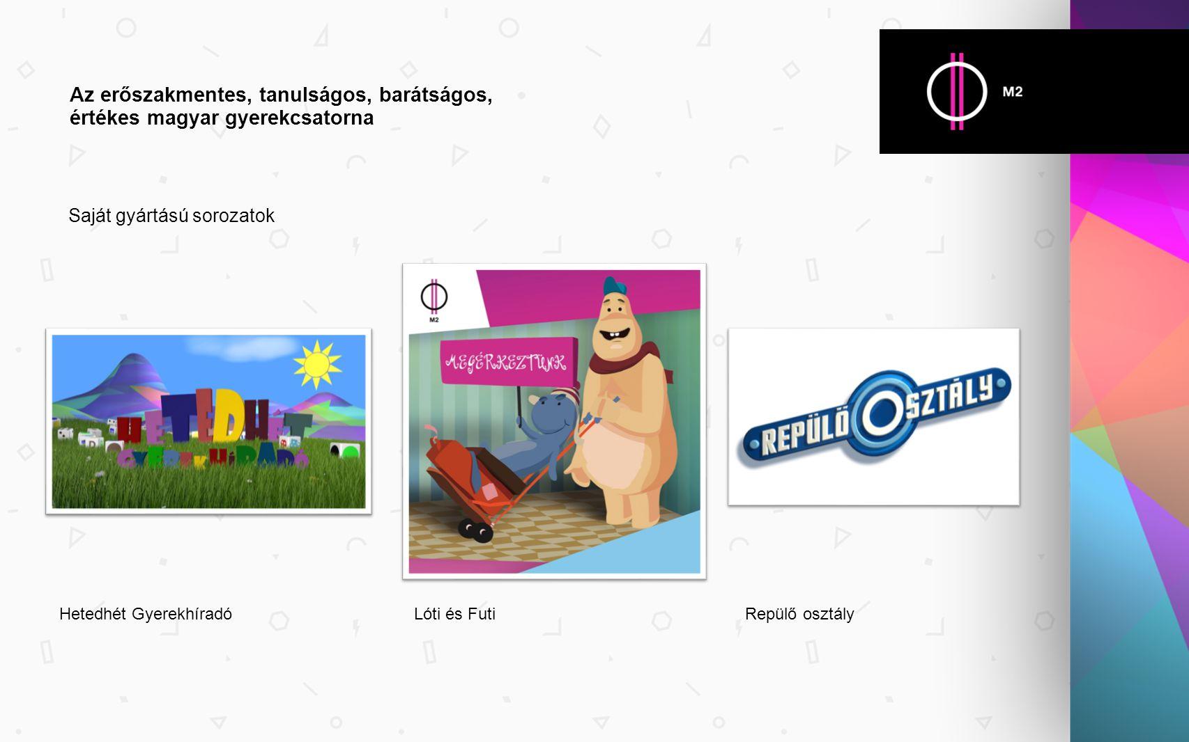 Saját gyártású sorozatok Az erőszakmentes, tanulságos, barátságos, értékes magyar gyerekcsatorna Hetedhét GyerekhíradóLóti és FutiRepülő osztály
