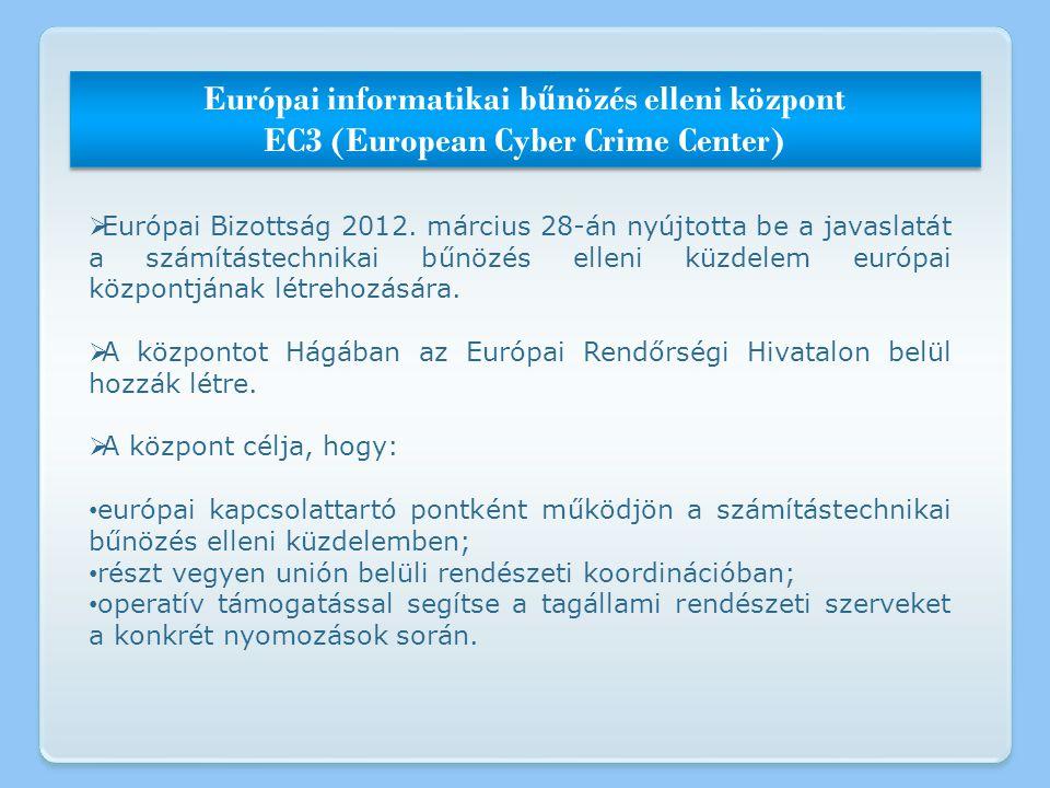 Európai informatikai b ű nözés elleni központ EC3 (European Cyber Crime Center) Európai informatikai b ű nözés elleni központ EC3 (European Cyber Crim