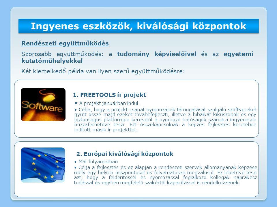 Ingyenes eszközök, kiválósági központok 1. FREETOOLS ír projekt A projekt januárban indul. Célja, hogy a projekt csapat nyomozások támogatását szolgál