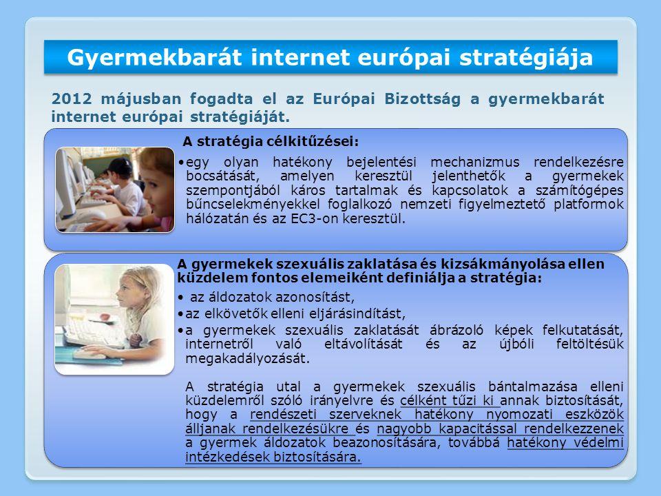 Gyermekbarát internet európai stratégiája 2012 májusban fogadta el az Európai Bizottság a gyermekbarát internet európai stratégiáját. A stratégia célk
