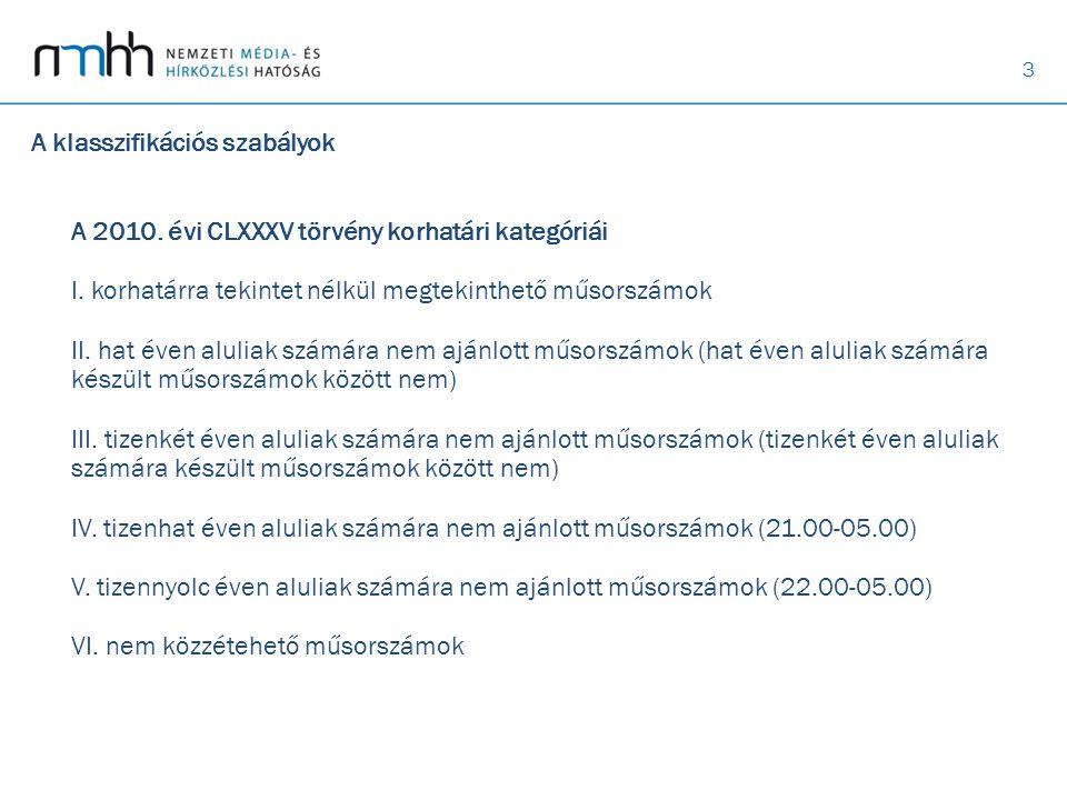 3 A klasszifikációs szabályok A 2010. évi CLXXXV törvény korhatári kategóriái I.