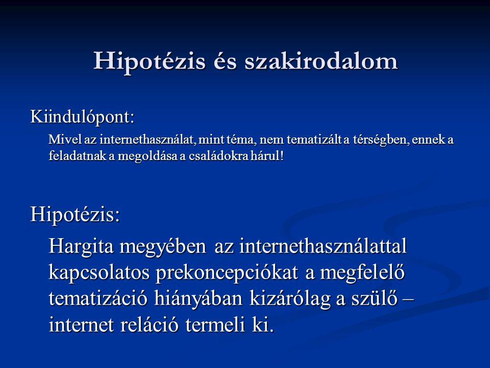 Hipotézis és szakirodalom Kiindulópont: Mivel az internethasználat, mint téma, nem tematizált a térségben, ennek a feladatnak a megoldása a családokra hárul.