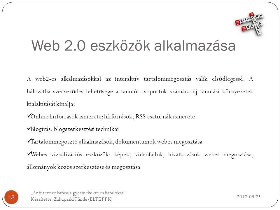 Web 2.0 eszközök alkalmazása 2012.09.25.