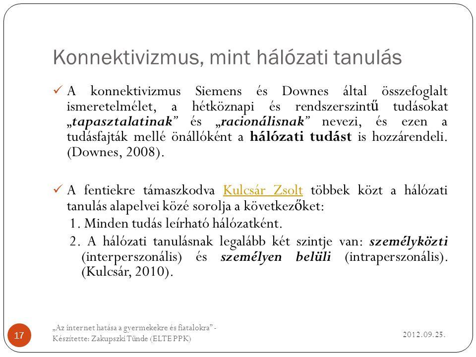 Konnektivizmus, mint hálózati tanulás 2012.09.25.