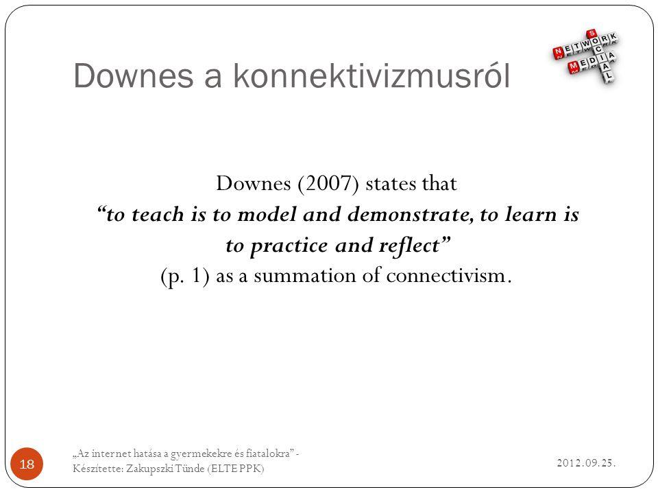 Downes a konnektivizmusról 2012.09.25.